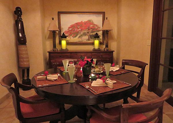 indoor dining room at bird of paradise villa