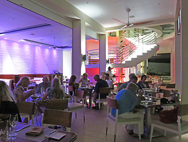 inside the yacht club restaurant at the reef