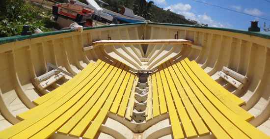 inside anguilla's de tree racing boat