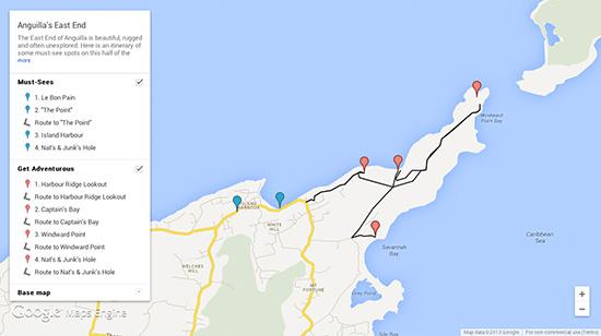 anguilla map itineraries