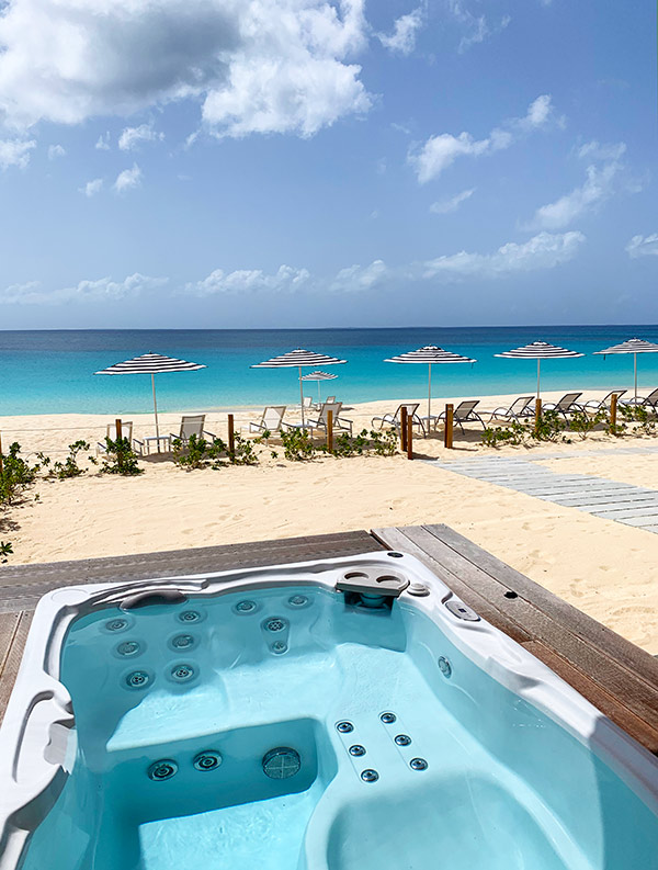 jacuzzi with a view at tranquility beach