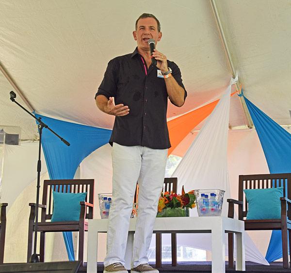 john leoneo presenting at lit fest anguilla