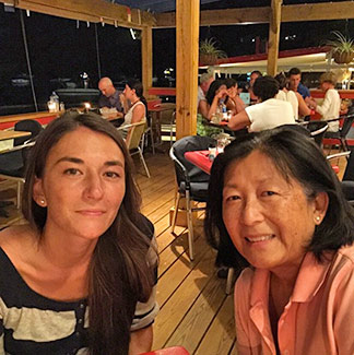 le bar by night with mom and nori