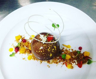 Leonicia Rey Richardson's Dulcey Floating Semi Sphere with Almond Crumb, Forest Berry dessert