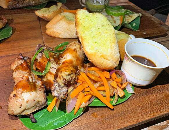 BBQ chicken and garlic bread
