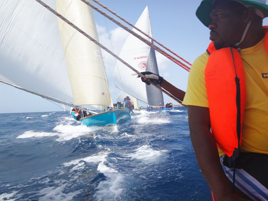 approaching the stake during an anguilla sail boat race