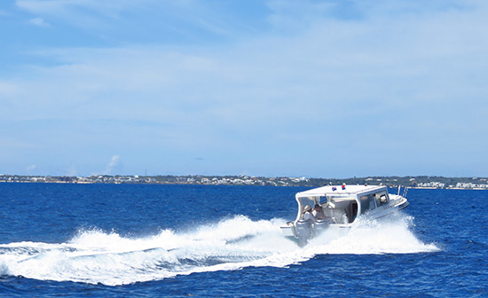 water taxi charter en route to anguilla from st. maarten