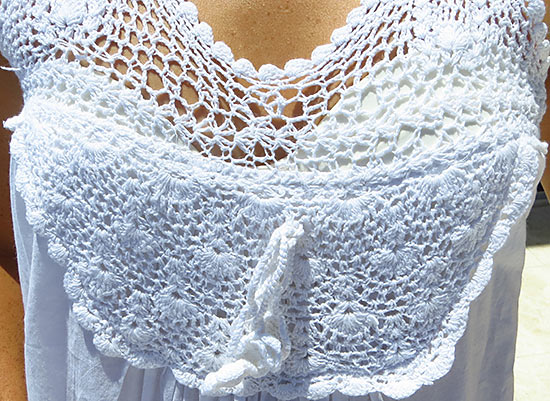 detail of crochet top