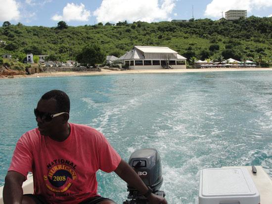 Anguilla beaches, Little Bay, Calvin, boat