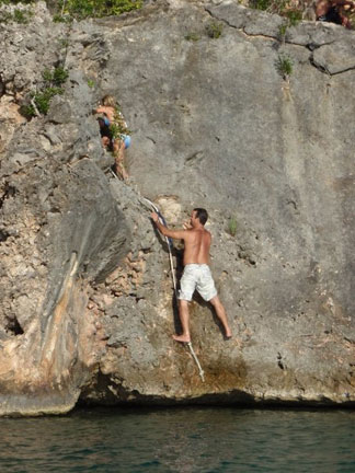 Anguilla beaches, Little Bay, the rock, climb