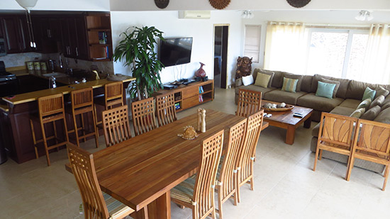 living and dining room inside kiki villa