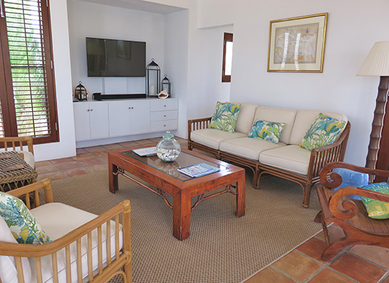 living area inside twin palms coconut palm villa