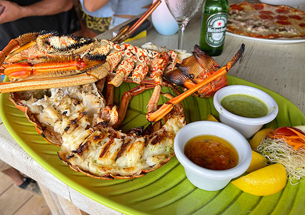 grilled lobster at Yellow Beach