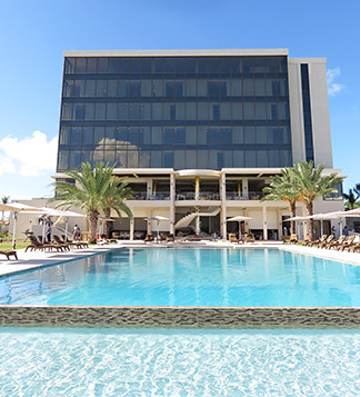 looking up at the reef hotel from the pool