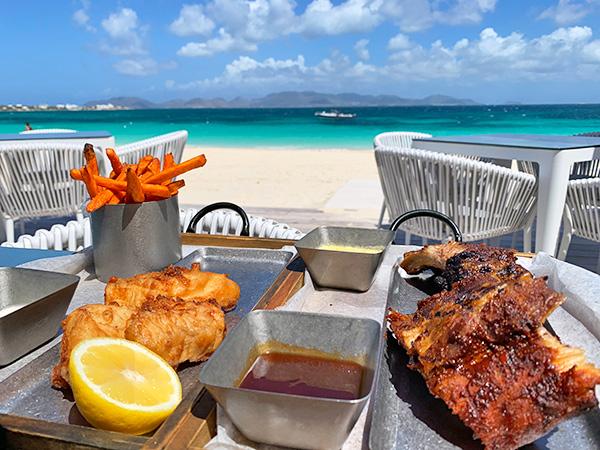 ribs and fish at The Beach Bar and Grill at Cuisinart