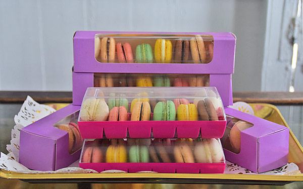 colorful macarons from village bakehouse
