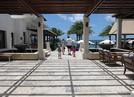approaching the main pool area of zemi beach house