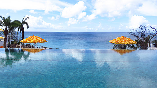 view from the top pool at malliouhana