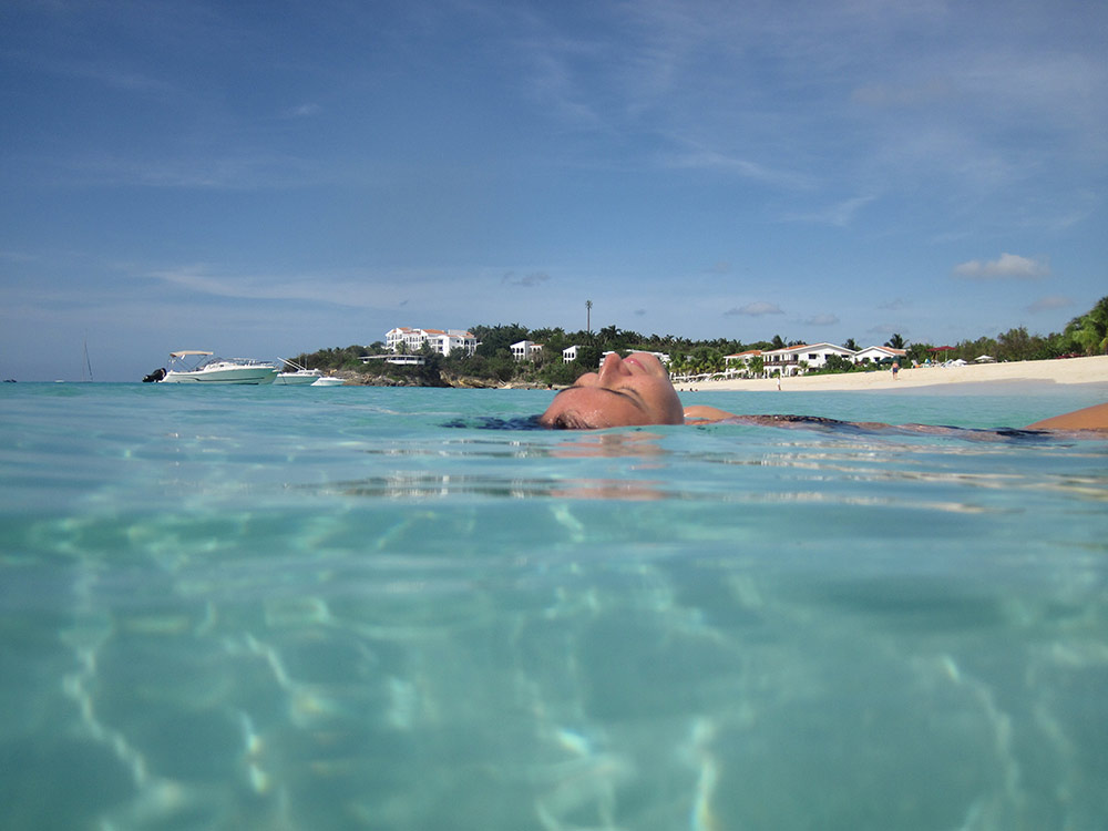 Peaceful moment of floating frozen in an anguilla photo