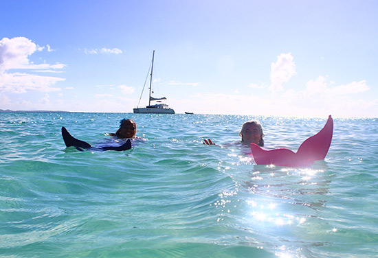 floating on the sea with mermaid tail