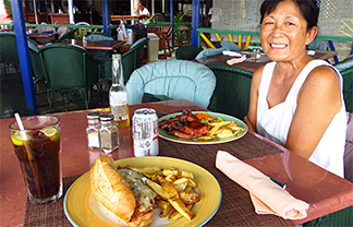 mom eating lunch at roys