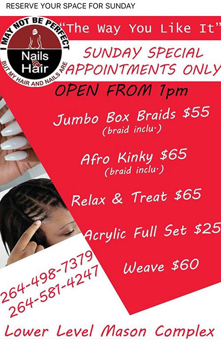 sunday specials at nails r hair anguilla