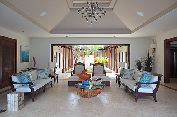 indoor and outdoor living area at nevaeh villa