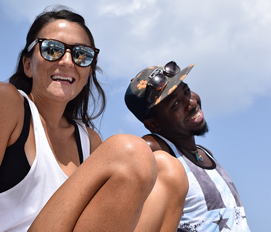 Nori Evoy and Kirmani Honore at sea in anguilla