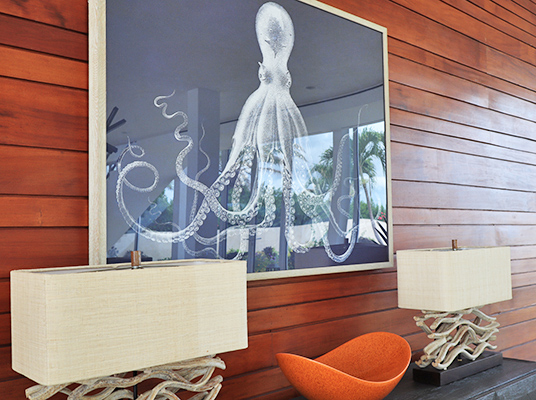 Octopus photo in dining room