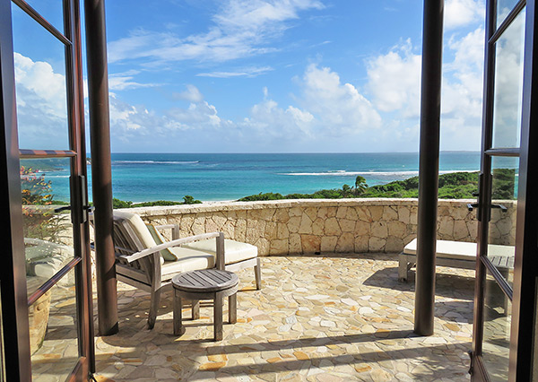 view from lower master suite at bird of paradise villa