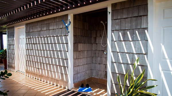 outdoor shower at wesley house