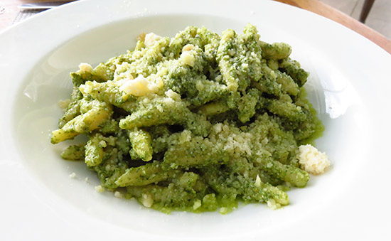pesto pasta at italia for lunch