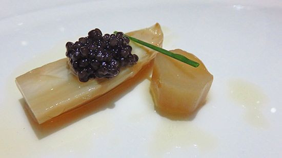 pickled white asparagus with caviar and browned butter at cuisinart chef tasting menu