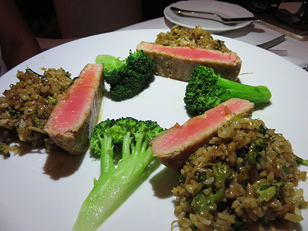 pimms tuna with dirty rice dish