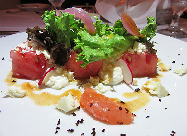 watermelon and goat cheese salad at cap juluca pimms