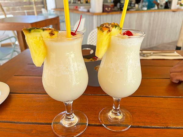 Pina Coladas at La Playa Restaurant & Bar