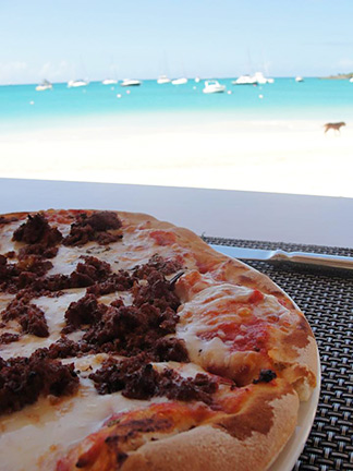 anguilla food beachside pizza