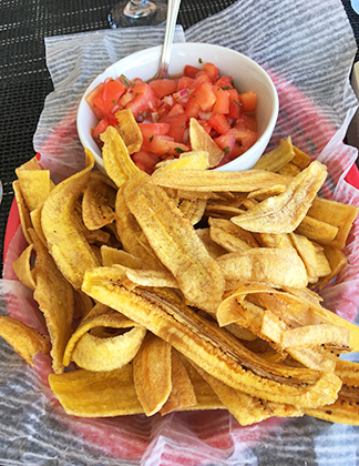 Plantain Chips with Tomato Salsa