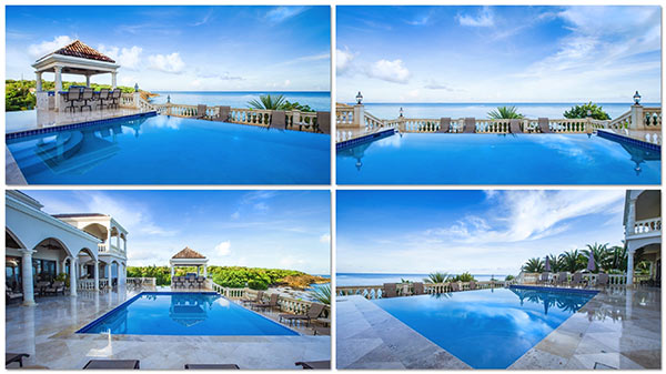 pool and terrace at sandcastle villa anguilla