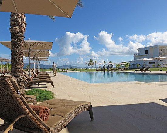 view from poolchaise at the reef at cuisinart