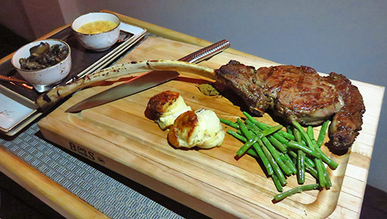 prime dry aged tomahawk steak at malliouhana
