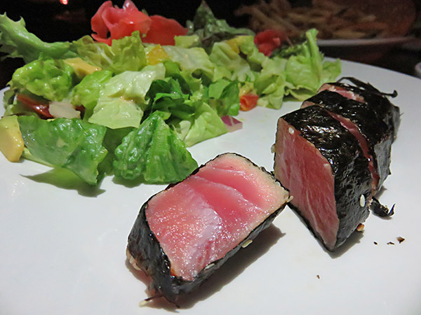 nori tuna with salad at pumphouse