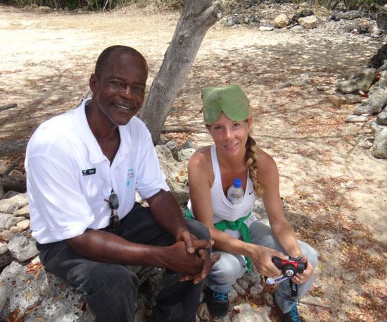 kristin wearing seagrape cap next to oliver