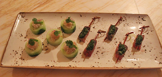rose night appetizers including red snapper crudo