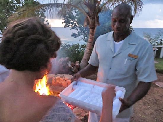 chilled towel post-bonfire at malliouhana