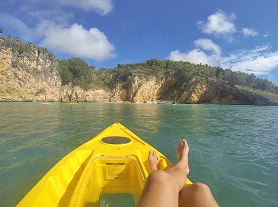 enjoying the scenery of little bay in a kayak in anguilla
