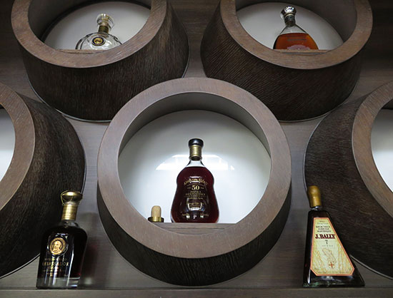 a selection of rums in the rhum room