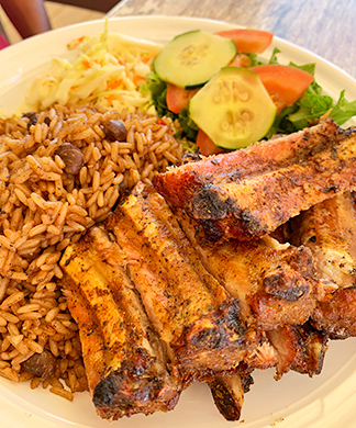 Ribs With Rice & Peas Anguilla restaurant, Johnno's