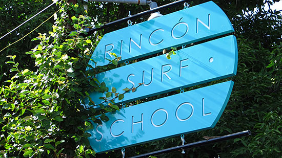 rincon surf school sign