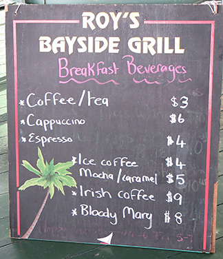 the drink menu for breakfast